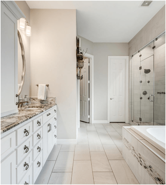 Tile flooring in bathroom