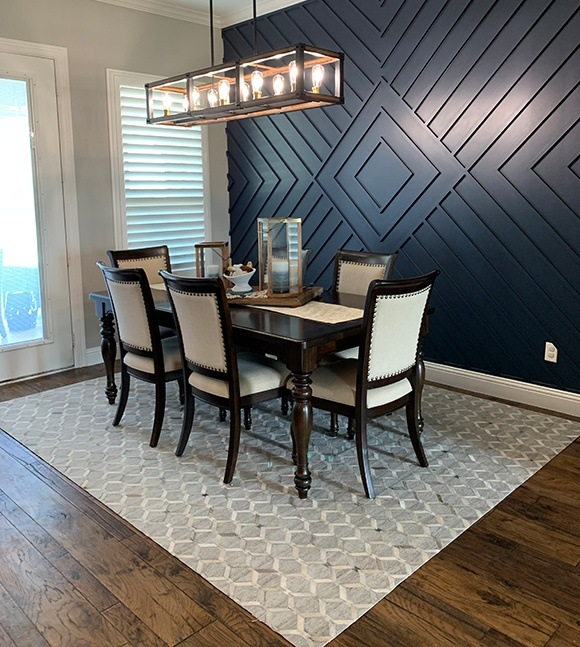 Solid wood flooring in dining room