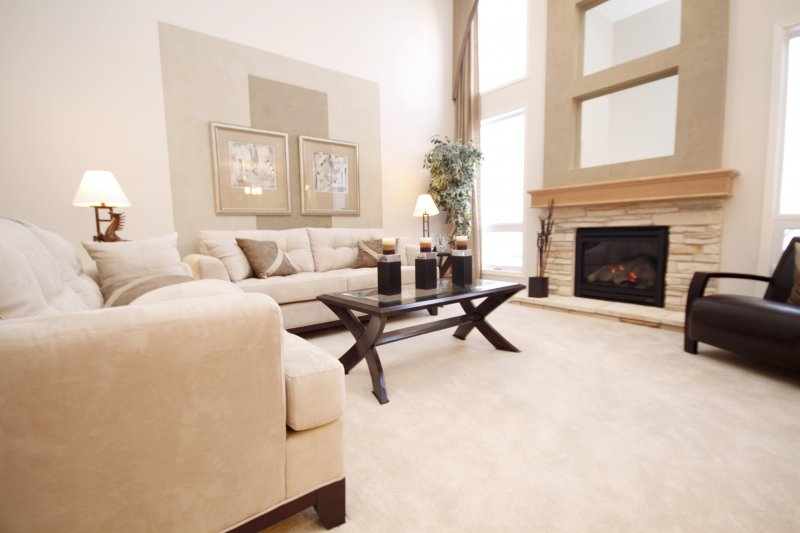 a carpeted living room with clean, elegant furniture