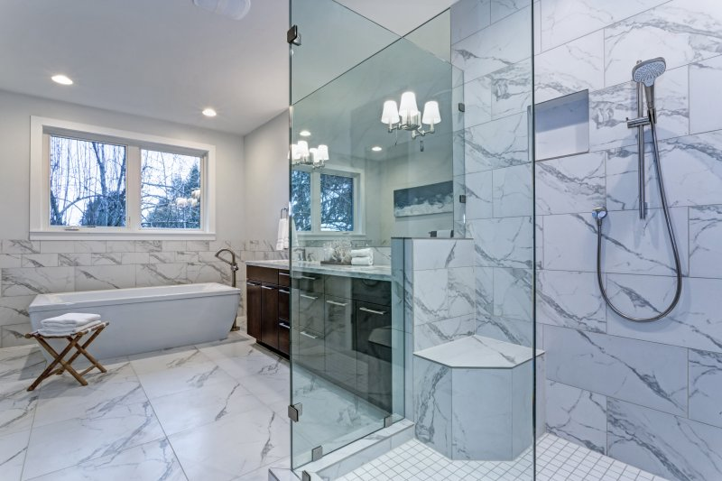 a bathroom complete with tile floors