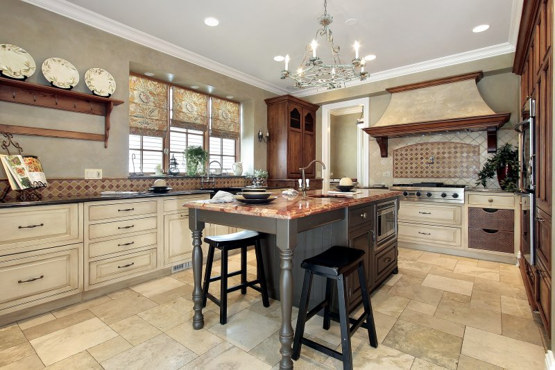 a kitchen with beautiful tiled floors